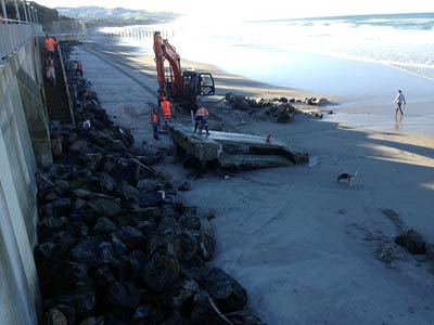 Dismantling the surf club boat ramp