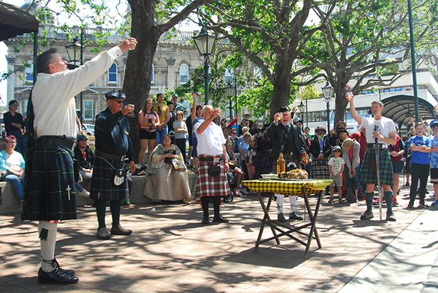 Dunedin-Edinburgh Sister City Society perform in octagon.