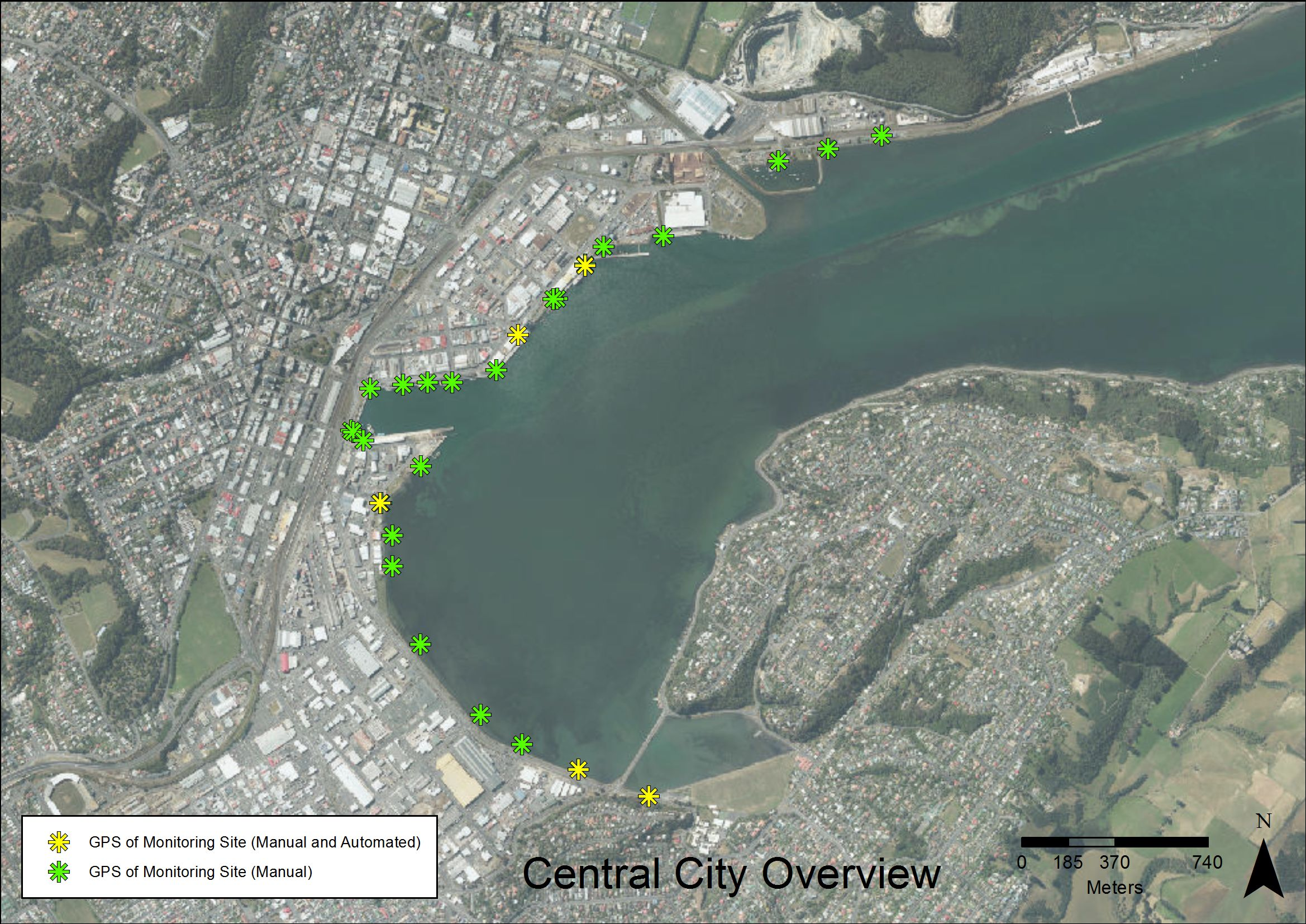 Central City overview of outfall locations covered by consents