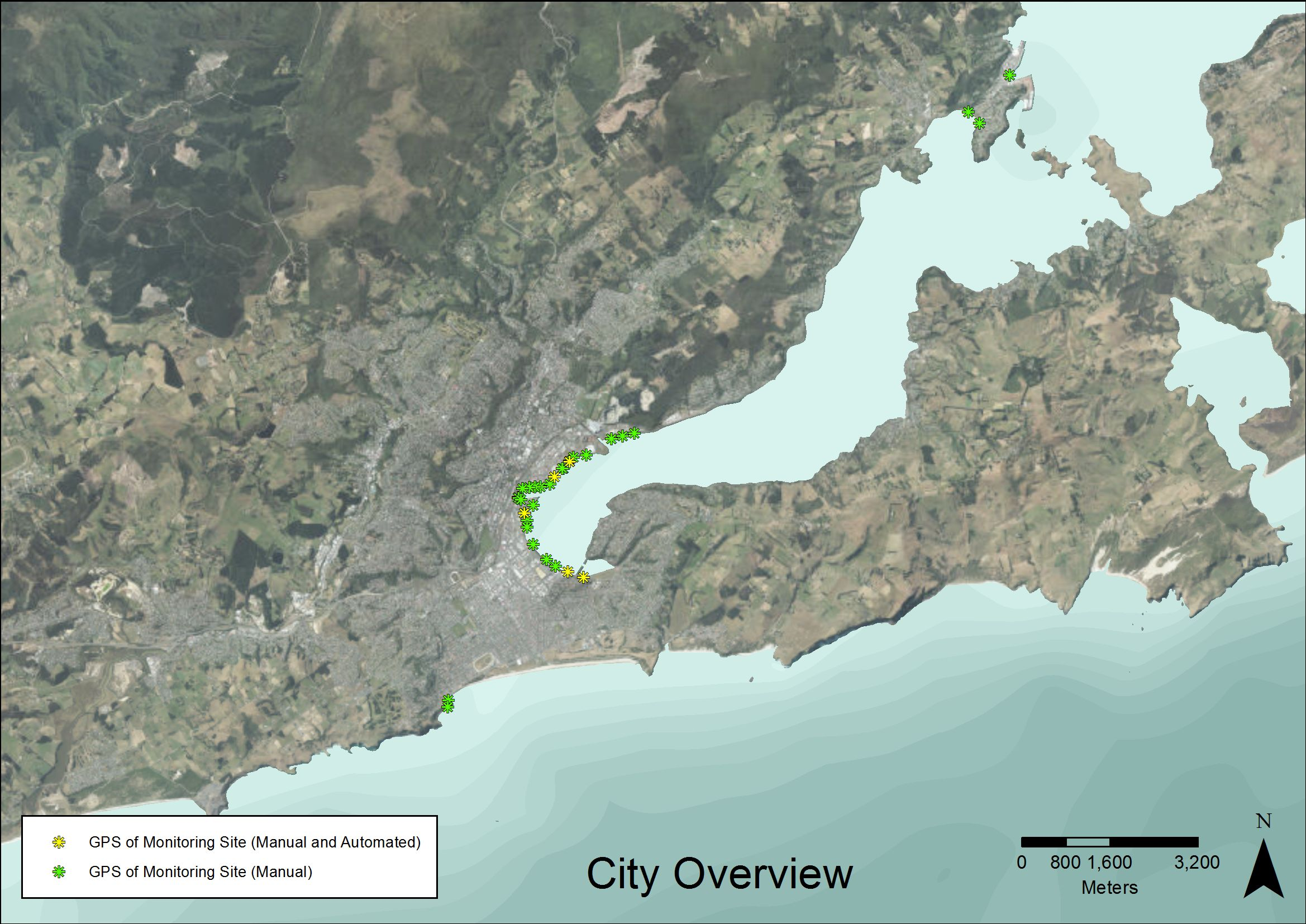 City overview of outfall locations covered by consents